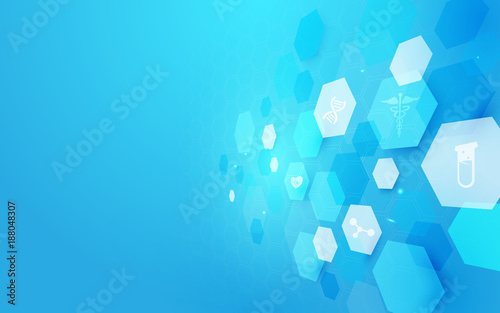 Abstract geometric shape medicine and science concept background. Medical Icons © pickup