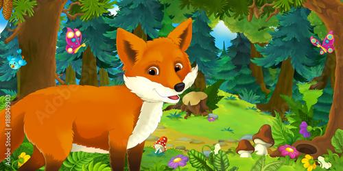 Sceny kreskówki ze szczęśliwym i zabawnym lisem w lesie - ilustracja dla dzieci