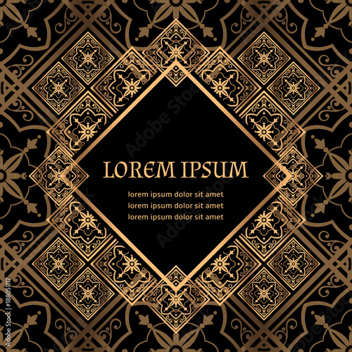 luxury background vector golden royal pattern art deco frame design for beauty spa