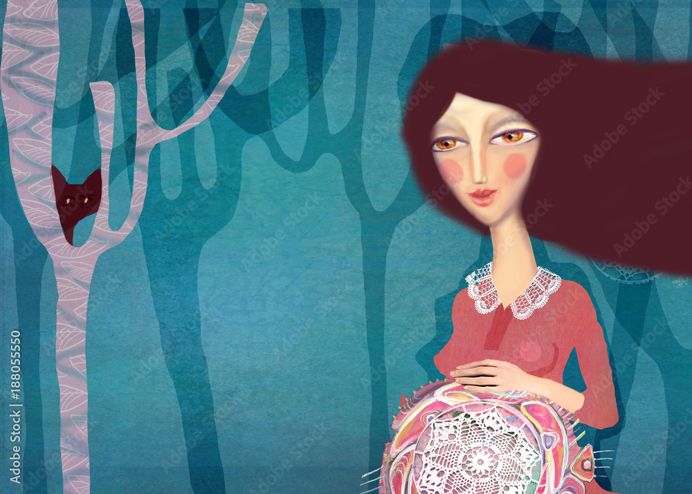 Painting pregnant woman. Beautiful acrylic painting on canvas of stylized pregnant woman on a abstract colorful pattern background. Hand drawn portrait