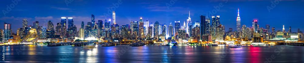 Fototapety, obrazy: Manhattan Skyline bei Nacht, New York City, USA