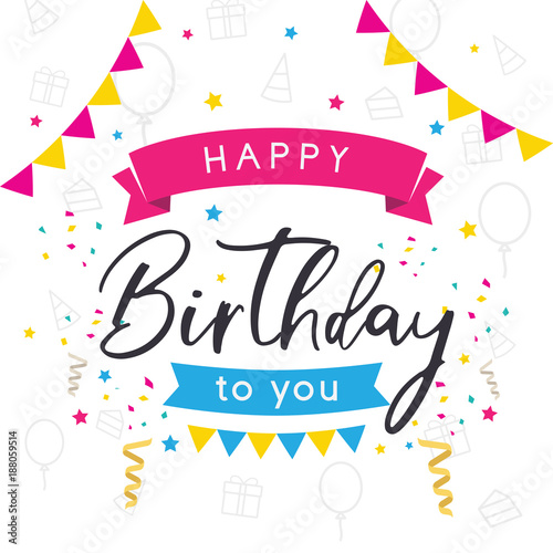 Vector Colorful Greeting Card Happy Birthday Birthday Card Happy