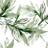 Peony branch in watercolor and count on a colored background.Seamless pattern. - 188060542