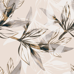 NaklejkaPeony branch in watercolor and count on a colored background.Seamless pattern.