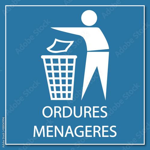 Cuadros en Lienzo Logo ordures ménagères.
