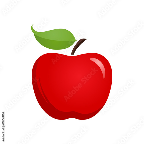 Obraz na plátně  Apple icon isolated vector illustration, color drawing sign, symbol
