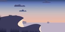 Landscape Hills Blue Sea Backg...