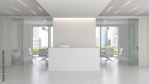 Fototapeta Interior of reception and meeting room 3D illustration