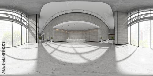 Fotografia  Spherical 360 panorama projection Interior of reception 3D illustration