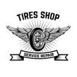 Garage. Service station. Car repair. Design element for logo, label, emblem, sign.
