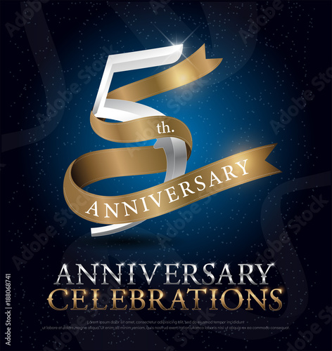 5th years anniversary celebration silver and gold logo with golden