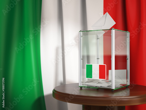 Stickers pour porte Pierre, Sable Ballot box with flag of Italy and voting papers.Italian residential or parliamentary election.