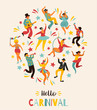 Hello Carnival Vector illustration of funny dancing men and women in bright costumes.