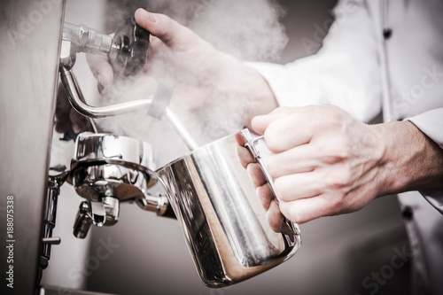 Photo  Barista Milk Steaming