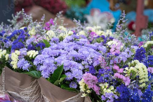 Fototapety, obrazy: Magenta asters flower bouquet