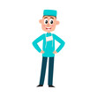 vector flat cartoon adult male doctor, surgeon in green medical uniform - mask cap, holding hands on belt smiling. Isolated illustration on a white background.