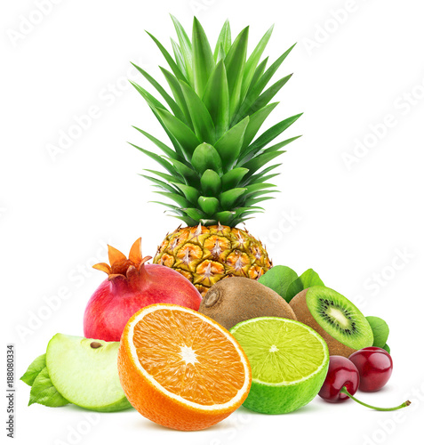 Poster Vruchten Assortment of exotic fruits isolated on white background with clipping path