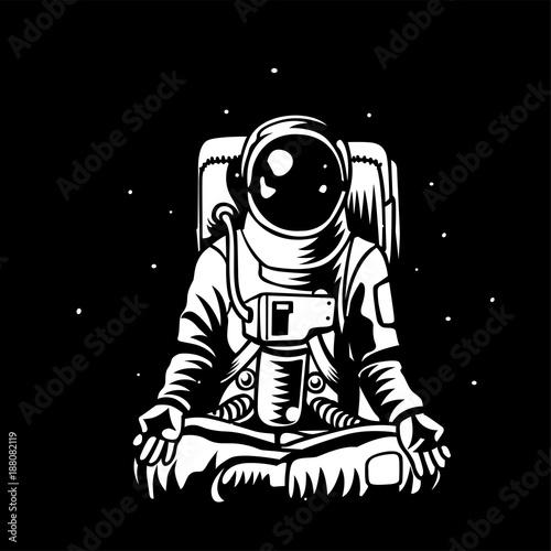 Cuadros en Lienzo Vector astronaut meditating in open capacity