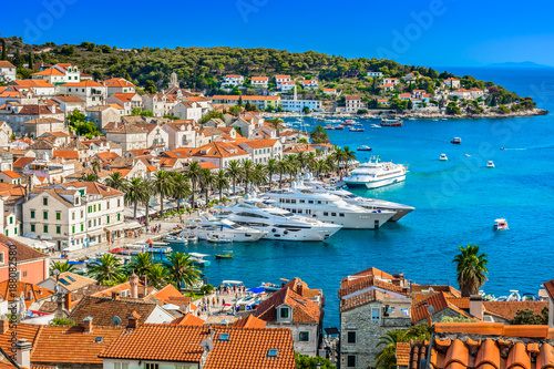 Obraz Miasto Hvar krajobraz, Chorwacja - fototapety do salonu