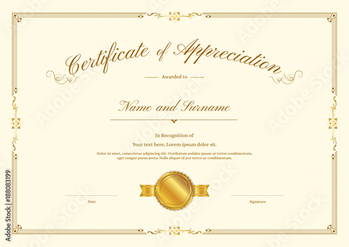 Luxury Gold Certificate Template With Elegant Border Frame Diploma