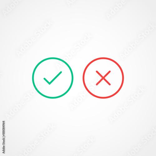 Fotografie, Obraz  Thin line check mark icons