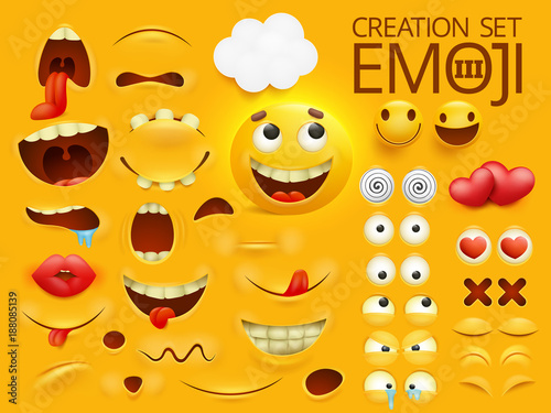 Yellow smiley face emoji character for your scenes template. Emotion big collection