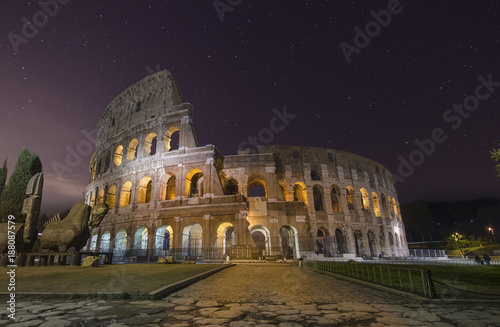 Rome Beautiful night view with stars of Colosseum in Rome, Italy