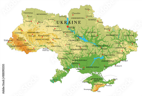 Photo Ukraine relief map