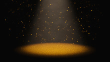 Twinkling Golden Glitter Falling Through A Cone Of Light On A Stage