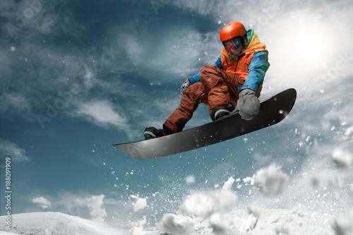 Poster Glisse hiver Snowboarding