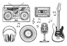 Retro Music Objects Icons Set
