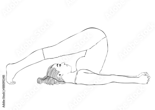 Yoga Woman In A Pose Halasana Vector Coloring Drawing Portrait Cartoon Girl Is Engaged In Gymnastics Contour Outline Black And White Illustration Isolated On White Background Buy This Stock Vector And