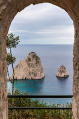 Fototapeta The Mizithres, small and big. Amazing rock formations on Keri cape, Zakynthos island. Greece.