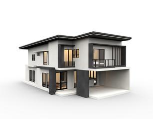 Dom 3d renderowania nowoczesny styl na białym tle.