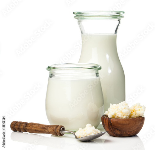 "Milk kefir grains. milk kefir, or búlgaros, is a fermented milk drink that originated in the Caucasus Mountains made with kefir ""grains"", a yeast/bacterial fermentation starter."