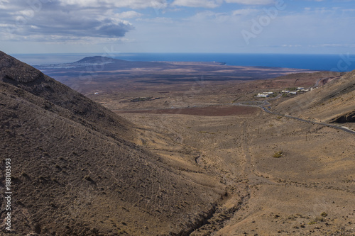 Tuinposter Canarische Eilanden Volcanic landscape in Lanzarote in day light, Canary islands, Spain