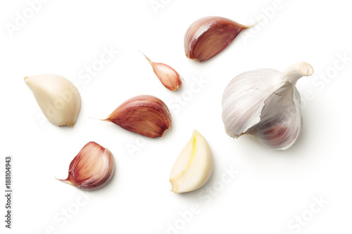 Garden Poster Aromatische Garlic Isolated on White Background