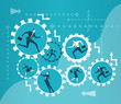 Lots of running people inside of rolling cogs. Business illustration