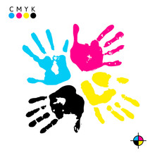 Hand Print. Four Color Ink For Printing. Hand Prints Of Different Colors - Vector Symbol CMYK