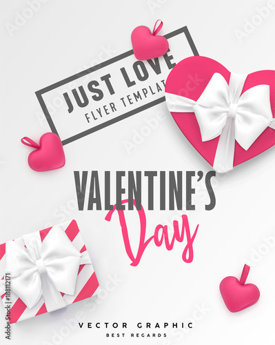 06129e3c4fc72 Valentines Day banner. Romantic vector template with gift box ...