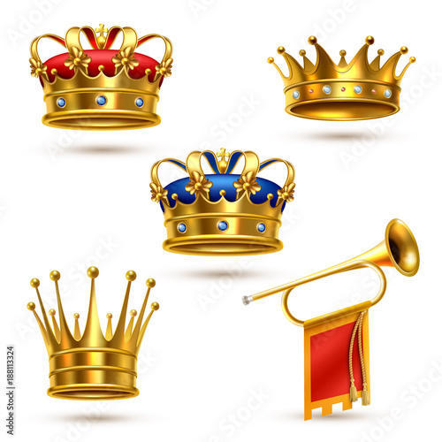 Royals Crowns Horn Realistic Collection Canvas Print