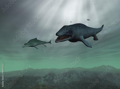 Photo Mosasaurus persiguiendo a un ictiosaurio