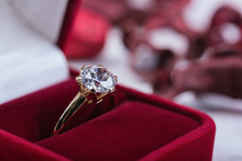 Diamond Wedding Ring In A Red ...