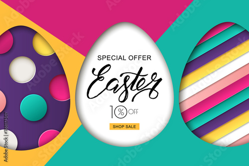 Happy easter sale banner colorful easter eggs and 3d abstract happy easter sale banner colorful easter eggs and 3d abstract multicolor paper cut shapes stopboris Choice Image