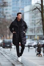 Stylish Man Wolk On The Street...