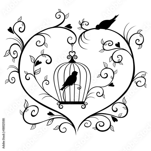 Keuken foto achterwand Vogels in kooien Caged bird silhouette framed with branches in the shape of a heart.