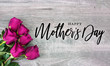 canvas print picture Happy Mother's Day Calligraphy with Pink Roses Over Rustic Wood Background