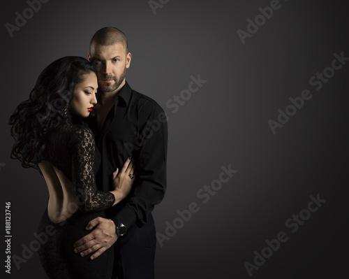 Couple Fashion Portrait, Young Man Embrace Beautiful Woman -1024