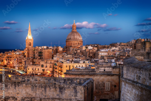 Egypt Valletta, Malta: aerial view from city walls at sunset. The cathedral