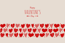 Valentine's Day - Card With Hand Drawn Hearts And Greetings. Vector.